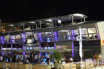 The Red Bull Energy Station in Monte Carlo harbor at night