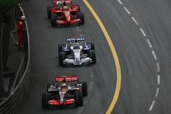 Lewis Hamilton, McLaren Mercedes, MP4-22,  Nick Heidfeld, BMW Sauber F1 Team, F1.07 and Felipe Massa, Scuderia Ferrari, F2007
