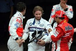 Fernando Alonso, McLaren Mercedes, Nick Heidfeld, BMW Sauber F1 Team, Fernando Alonso, McLaren Mercedes, Lewis Hamilton, McLaren Mercedes