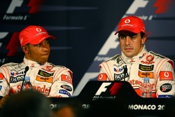 Press conference: pole winner Fernando Alonso with Lewis Hamilton