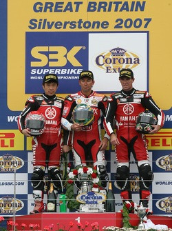 Noriyuki Haga, Troy Bayliss, Troy Corser on the podium