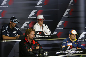 FIA press conference: Alexander Wurz, Williams F1 Team, Ralf Schumacher, Toyota Racing, Jenson Button, Honda Racing F1 Team and Giancarlo Fisichella, Renault F1 Team