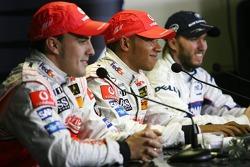 Fernando Alonso, McLaren Mercedes, Lewis Hamilton, McLaren Mercedes, Nick Heidfeld, BMW Sauber F1 Team