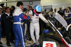 Pole winner Stéphane Sarrazin celebrates