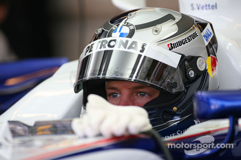 Sebastian Vettel, Test Driver, BMW Sauber F1 Team in the Team Garage