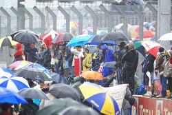 Fans wait for the podium ceremonies