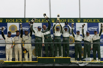 GT1 podium: class winners David Brabham, Rickard Rydell, Darren Turner, second place Johnny O'Connell, Jan Magnussen, Ron Fellows, third place Christophe Bouchut, Fabrizio Gollin, Casper Elgaard
