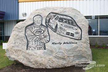 A rock decorated in honor of Rusty Wallace