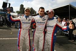 Stéphane Ortelli, Soheil Ayari and Nicolas Lapierre salute the fans
