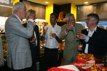Emanuele Pirro at a fine food store inauguration after the traditional winners manhole cover ceremony in downtown Le Mans