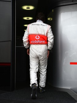 Fernando Alonso, McLaren Mercedes walks in the Hospitality of MCL