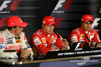 FIA press conference: Fernando Alonso, McLaren Mercedes, Pole winner Kimi Raikkonen, Scuderia Ferrari and 3rd, Felipe Massa, Scuderia Ferrari
