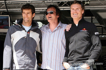 Quentin Tarantino, American Film Director with Mark Webber, Red Bull Racing and David Coulthard, Red Bull Racing