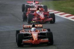 Markus Winkelhock, Driver, Spyker F1 Team, Felipe Massa, Scuderia Ferrari, Kimi Raikkonen, Scuderia Ferrari