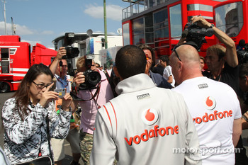 Lewis Hamilton, McLaren Mercedes arrives at the circuit