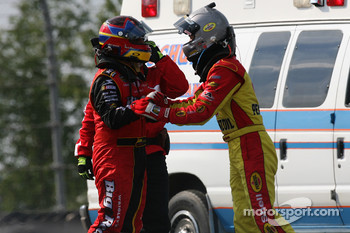 Juan Pablo Montoya and Kevin Harvick have a post-crash meeting