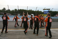 The Home Depot Chevy crew celebrates as Tony Stewart wins the race