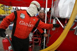 Gainsco Bob Stallings Racing crew members prepare pit area
