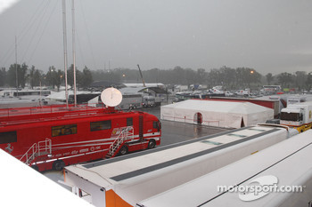 Rain falls on the paddock at Monza