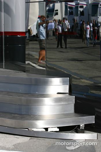 Broken Step on the McLaren Mercedes motorhome
