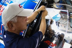 The AT&T logo goes back on the RCR owned race car before qualifying