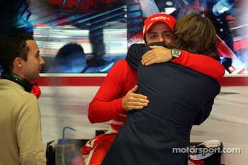Luca di Montezemolo, Scuderia Ferrari, FIAT Chairman and President of Ferrari arrives at the garage and say hello to Felipe Massa, Scuderia Ferrari