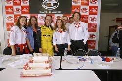Mike Hezemans celebrates his 100th FIA-GT start