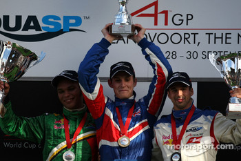 Podium, Oliver Jarvis, driver of A1 Team Great Britain, Adrian Zaugg, driver of A1 Team South Africa,Neel Jani, driver of A1 Team Switzerland