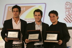 2007 GP2 Series Champion Timo Glock with Lucas di Grassi and Giorgio Pantano