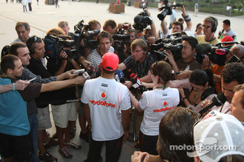 Lewis Hamilton, McLaren Mercedes with the media