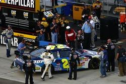 Race winner Jeff Gordon heads to victory lane