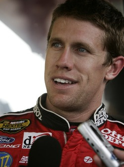 Carl Edwards talks to the media