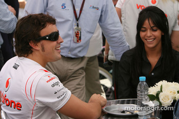 Fernando Alonso, McLaren Mercedes with his wife, Raquel Rosario