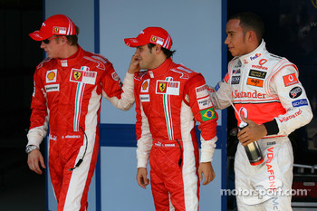 Pole winner Felipe Massa with second place Lewis Hamilton and third place Kimi Raikkonen