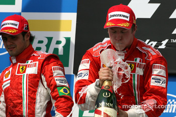 Podium: race winner and 2007 World Champion Kimi Raikkonen, second place Felipe Massa