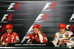 Press conference: race winner and 2007 World Champion Kimi Raikkonen, second place Felipe Massa, third place Fernando Alonso