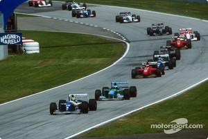 Restart: Ayrton Senna leads Michael Schumacher