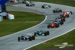 Restart: Ayrton Senna leads Michael Schumacher