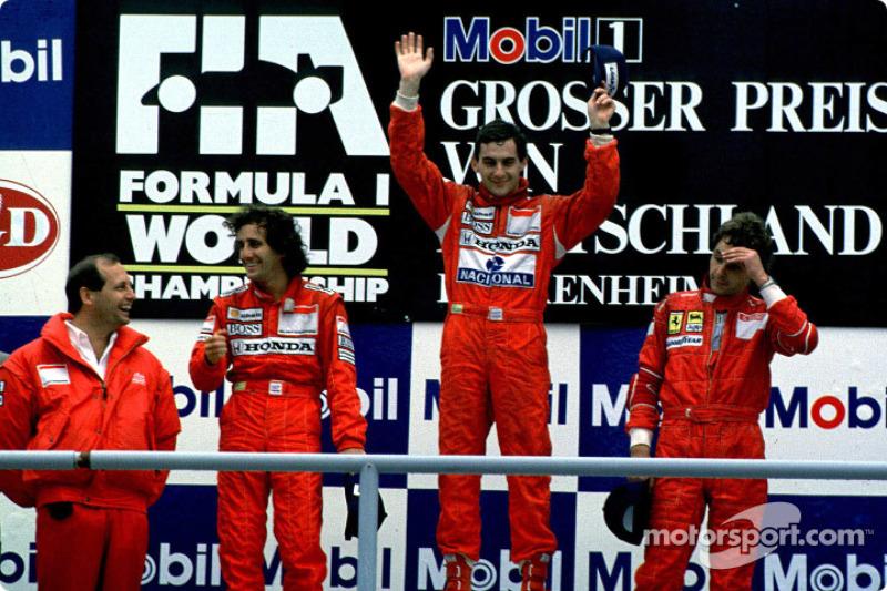 Podium: race winner Ayrton Senna with Alain Prost and Gerhard Berger