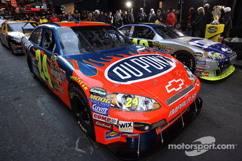 The cars of Jeff Gordon and Jimmie Johnson wait on the street in Time Square prior to a victory lap through the streets of Midtown New York City