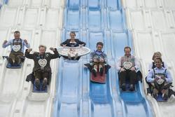 Sven Fischer, Prinz Leopold von Bayern, Ingalena Heuck, Marco Wittmann, Christoph Langen, Natalie Geisenberger and Joshua Bluhm attend the BMW Wiesn Sport-Stammtisch 2015 at Oktoberfest