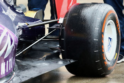 Red Bull Racing RB11 with markings on the Pirelli tyres