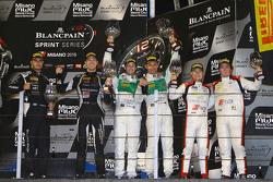 Podium: winners Laurens Marco Seefried, Norbert Siedler, Rinaldi Racing, second place Patrick Kujala, Mirko Bortolotti, GRT Grasser Racing Team, third place Enzo Ide, Christopher Mies, Belgian Audi Club Team