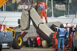 The Scuderia Toro Rosso STR10 of Carlos Sainz Jr., in the Tecpro barriers after he crashed in the third practice session