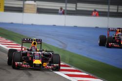 Daniil Kvyat, Red Bull Racing RB11 as team mate Daniel Ricciardo, Red Bull Racing RB11 runs wide