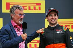 (L to R): Eddie Jordan, BBC Television Pundit with third placed Sergio Perez, Sahara Force India F1 on the podium