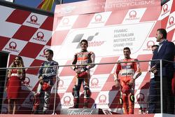 Podium : El segundo lugar, Jorge Lorenzo, Yamaha Factory Racing, ganador,  Marc Márquez, Repsol Honda Team, y el tercero, Andrea Iannone, Ducati Team