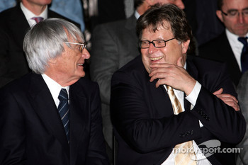 Bernie Ecclestone and Norbert Haug, Mercedes, Motorsport chief