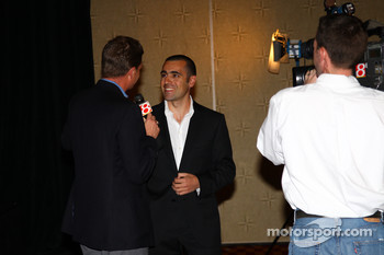 Dario Franchitti was a popular interview after receiving his Champion of Champions winner's ring and seeing his image on the Borg-Warner Trophy