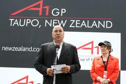 National Anthem singer and Helen Clark, Prime Minister of New Zealand
